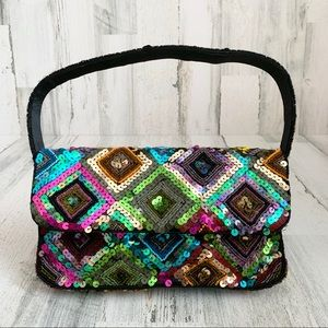 Sequin Beaded Patchwork Evening Bag / Purse